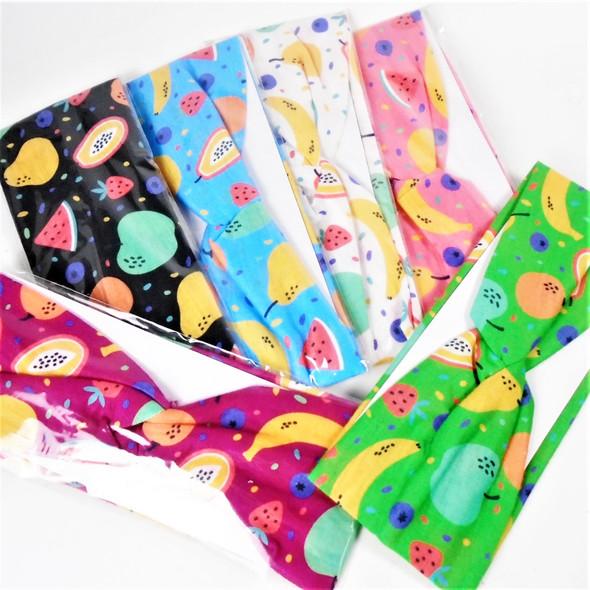 "Popular Kid's 2.5"" Asst Color Fruit Theme Stretch Headbands  .49 ea"