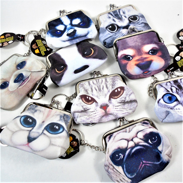 Cat & Dog Lover Snap Closure Coin Purse w/ Keychain 12 per pk  .60 each