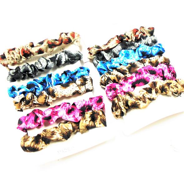 6 Pack Leopard Pattern  Hair Scrungi  w/ Mixed Colors .50 ea set