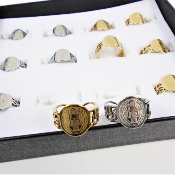Gold & Silver Stainless Steel Rings San Benito Saint Theme  .60 ea