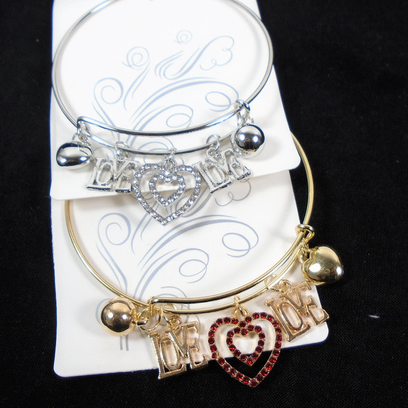 Just for Mom DBL LOVE & DBL Heart Silver Wire Bangle Bracelet .60 each