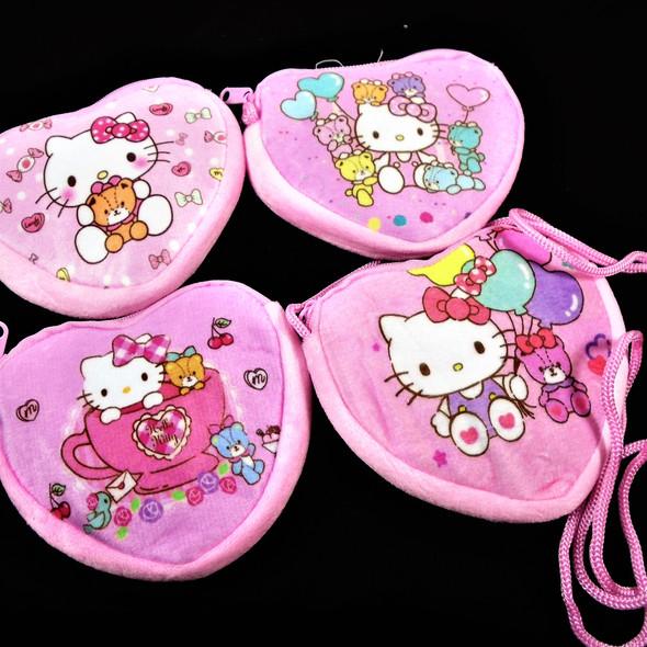 "4.5"" Heart Shaped Pink Velveteen Kids Zipper Bag w/ Long Strap  .60 each"