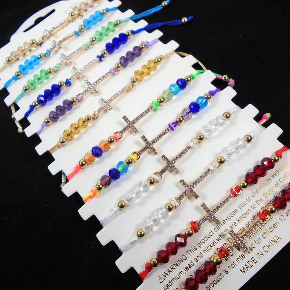 Handmade Cord Cry. Beaded Bracelets w/ Cry. Stone Cross Charm .58 each