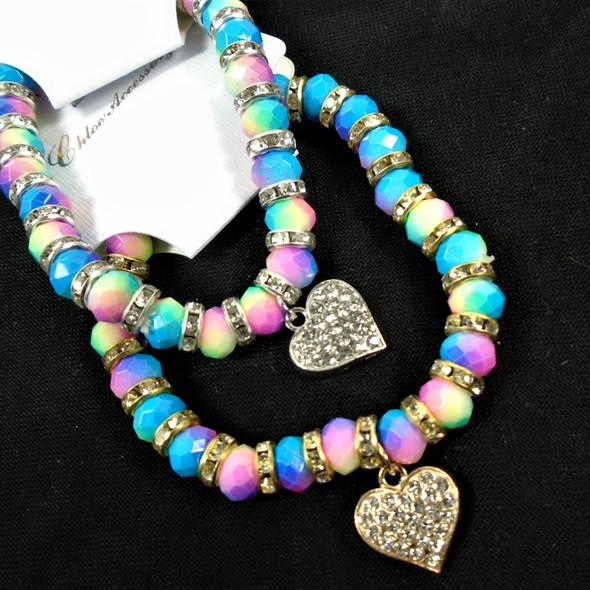 Multi Color Crystal Bead & Mini Crystal Bracelets w/ Heart Charm .58 each