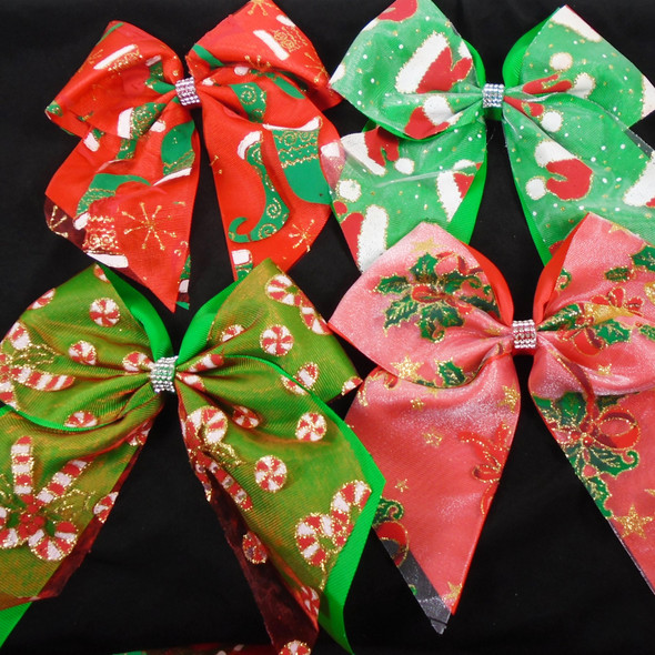 """Mixed 4 Style 2 Layer - 6"""" X 7"""" Christmas Gator Clip Tail Bow   12 per pk  .60 each"""