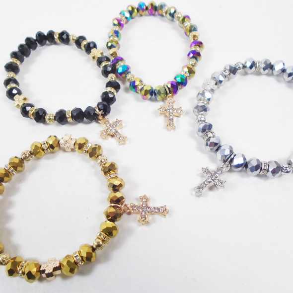 Metallic Crystal Beaded Stretch Bracelets w/ Cry. Stone Cross Charm  .60 ea