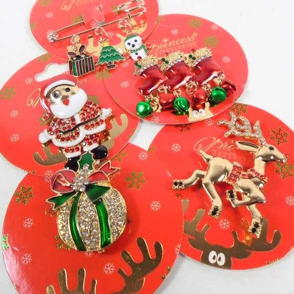 Hi Fashion Christmas Broaches Mixed Styles per dz  .60 each
