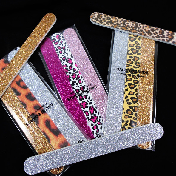3 - Pk Gift Set Professional Quality Nail Files Glitter/Animal  Pattern  .62 per set