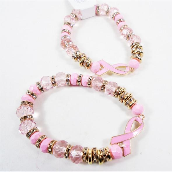 Pink Ribbon Theme Stretch Bracelet w/ Crystal Beads  .60 each