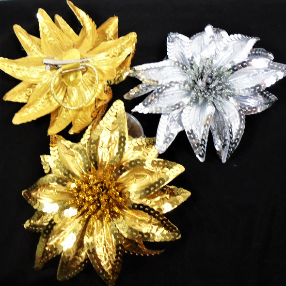 """6"""" Gold/Silver Sequin Flower 3 in 1 Use  12 per bx   .60 each"""