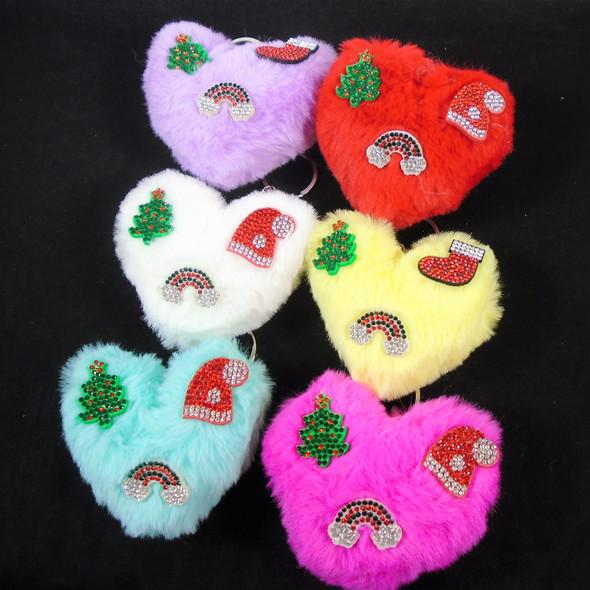 "4"" Faux Fur Heart Keychain w/ Crystal Stone Christmas Ornaments .65 each"