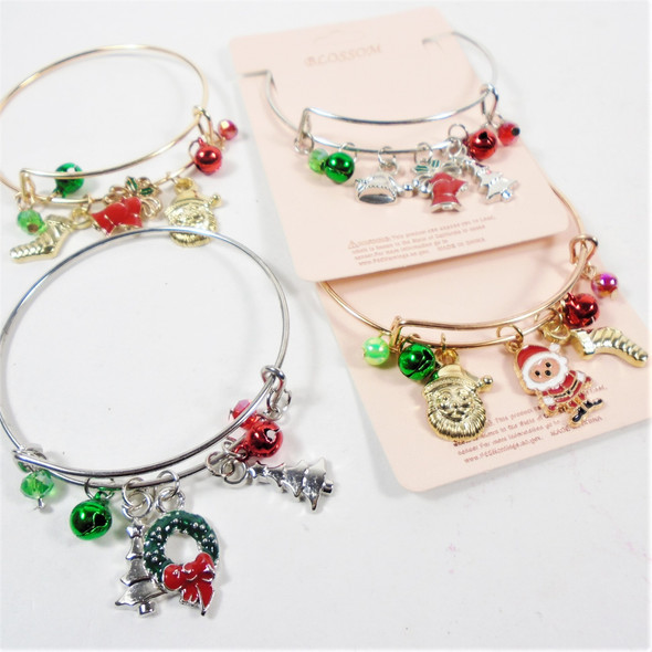 Gold & Silver Wire Bangle Bracelets w/ Christmas Charms  .62 each