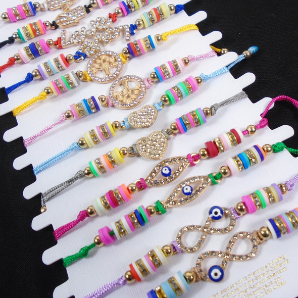 Colorful Beaded Cord Bracelets w/ Mixed Gold Cry. Stone Charms 12 - per cd  .56 ea