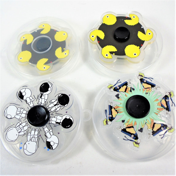 Kids Acrylic Cartoon Theme Spinners in carrying case   $  1.50ea