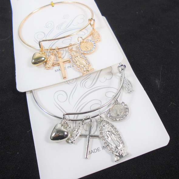 Gold / Silver Wire Bangle  Bracelets  w/ Mixed Faith & St Benito Charms  .60 each