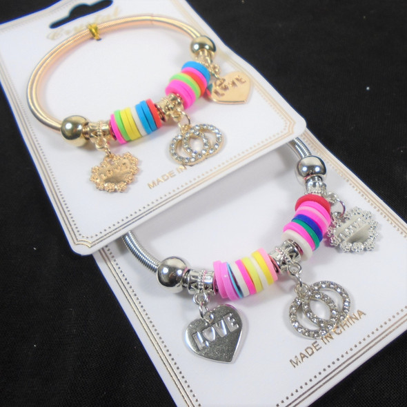 Gold & Silver Spring Style Colorful  Bracelet w/ Heart Charms  .60  each