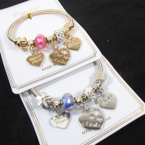Gold & Silver Spring Style Bracelet w/ Mixed  Heart Charms  .60  each