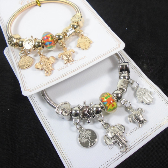 Gold & Silver Spring Style Bracelet w/ Mixed  Charms (3877)   .60  each
