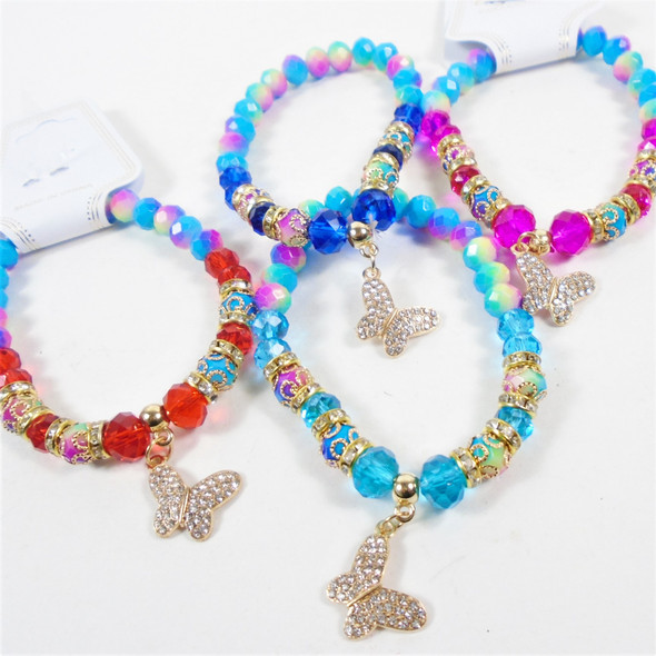 Multi Color & Solid Color Crystal Bead Bracelet w/ Cry. Stone Butterfly Charm  .60 ea