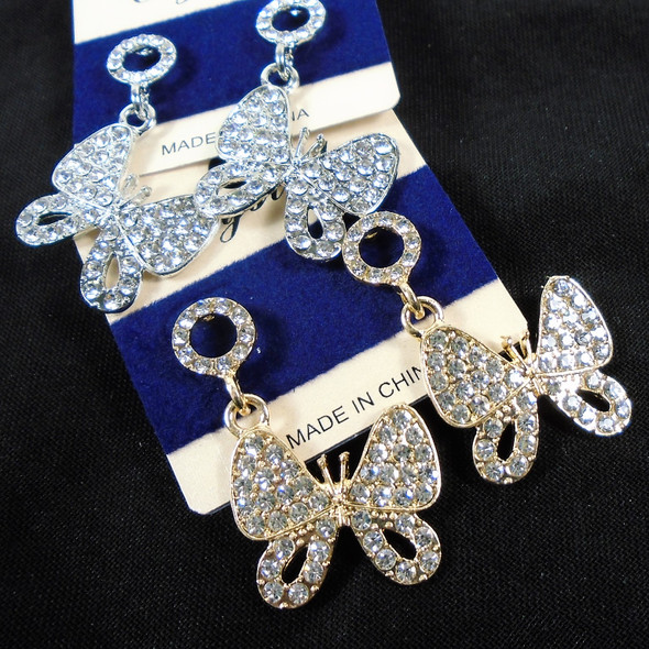 Gold & Silver Crystal Stone Butterfly Earrings  .58 per pair