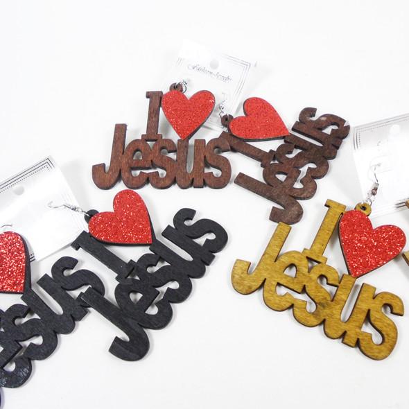 "Big 3"" I Love Jesus Wood Earrings w/ Red Sparkle Heart  .58 per pair"