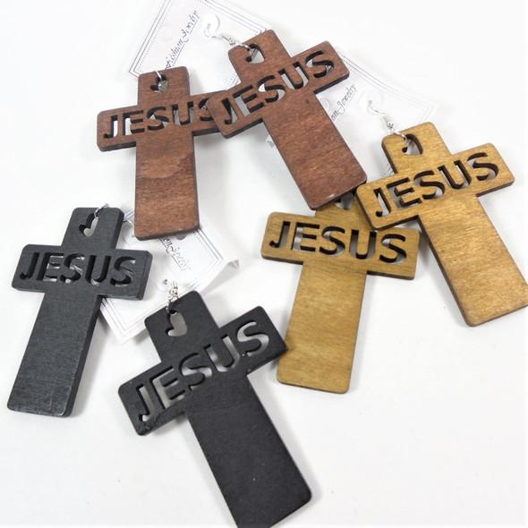 """3"""" Carved Jesus Wood Earrings 3 colors   .58 per pair"""