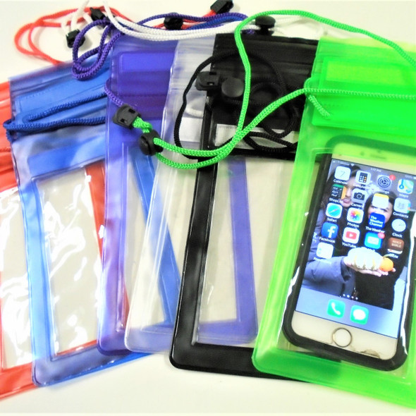 """4"""" X 10"""" Water Proof Cell Phone Case Necklace Asst Colors .65 ea"""