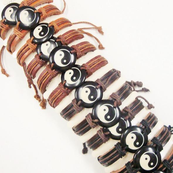 Teen Leather Bracelet w/ Blk & White Ying Yang .58 ea