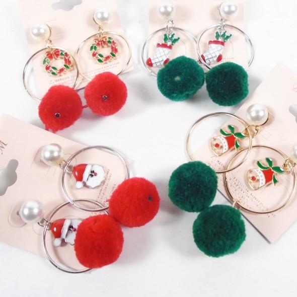 """2"""" Christmas Pom Pom Ball  Fashion Earrings  .60 per pair"""