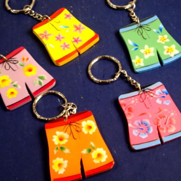 Handmade Flowered Wood Short  Keychains w/ Display 96 pc