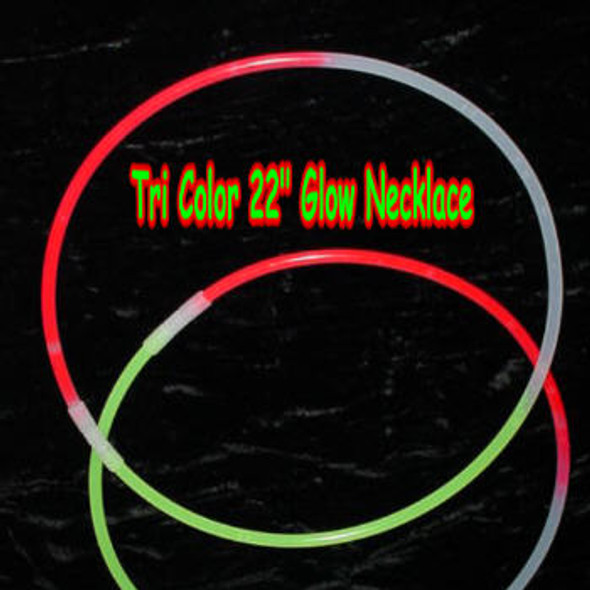 "22""  Tri  Color Glow Necklaces 100  pcs per unit on sale  .16 each"