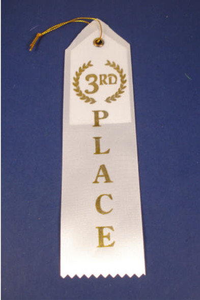 "7.5""  3rd Place White Ribbon 12 per pack"