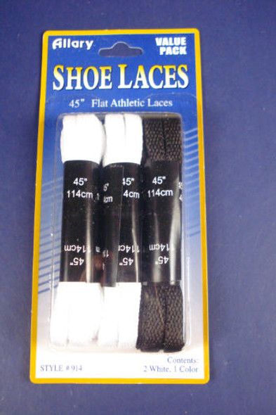 "3 Pk 45"" Flat Athletic Laces Blk & White 6 sets per box  ON SALE"