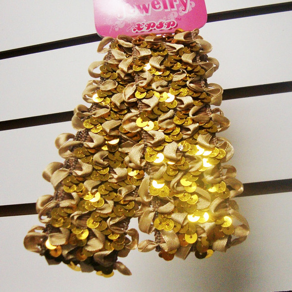 "2 Pk 1.5"" Stretch Sequin Headwraps All Gold .25 PER SET"