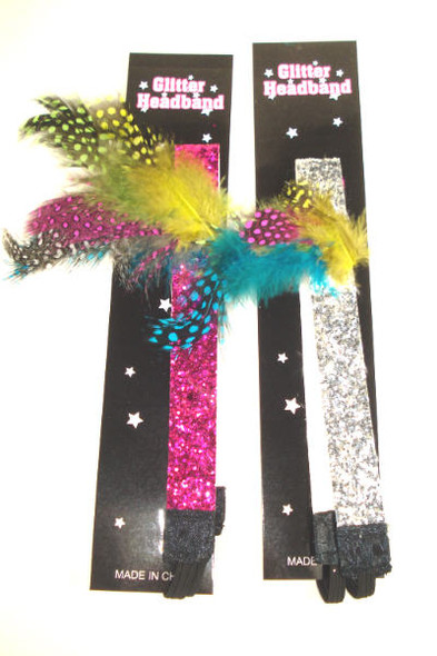 ".75"" Wide Glitter Stretch Headband Asst Colors w/ Feathers .42 ea"