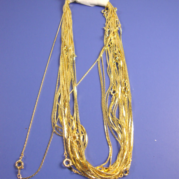 """16"""" Thin Square Style Gold Fashion Chain 24 per pack"""