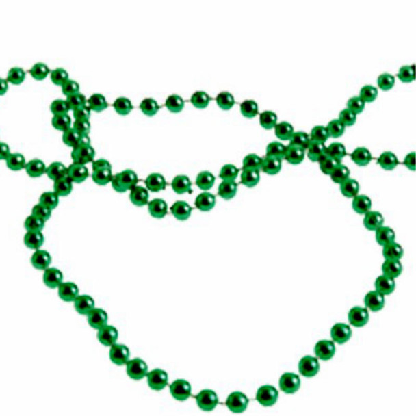 "33"" 5MM Beaded Necklace All Green 12 per pack  .15 ea"