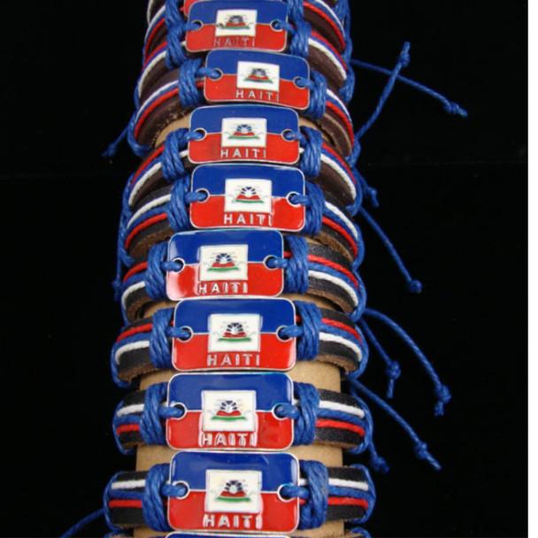 Teen Leather Bracelet w/ Haiti Flag Metal Plaque .54 ea