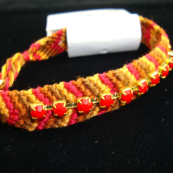 Multi Brown Color Wooven Fashion Bracelet w/ Red Stones 12 per pk .33 ea