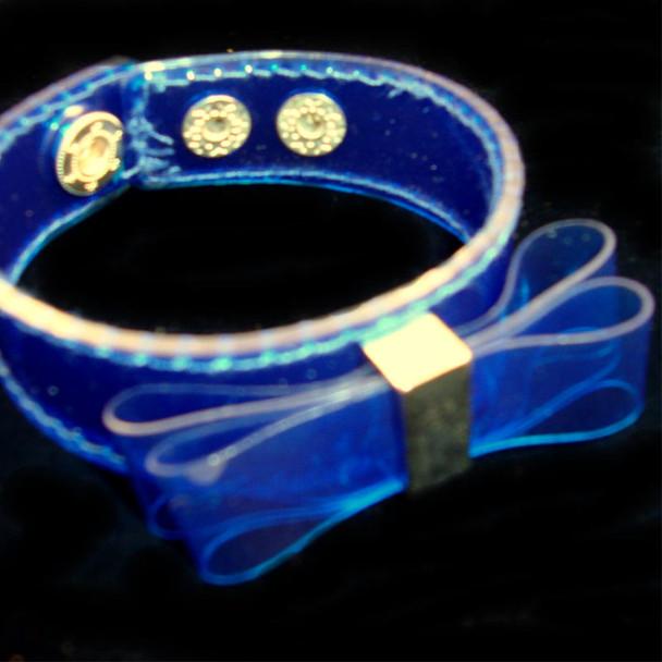 Dark Blue Hard Plaitic Wet Look Bracelet w/ Bow .25 ea