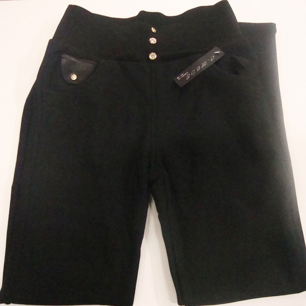 Ladies  Black Winter Pant Fur Lined Wide Waist Ban Gold Stud w/ Stone SM $ 6.50 ea