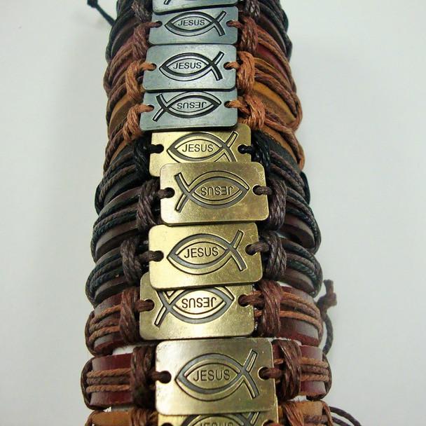 Mixed Color Teen Leather Bracelet w/ Jesus Fish Plaque Gold/Sil .56 ea