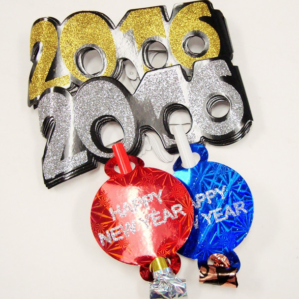 12-2016 Glitter Novelty Glasses Plus 12 New Year Blowers (24 pc Pack)