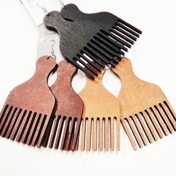 """3.25"""" Comb Pick Wood Fashion Earrings .54 ea"""