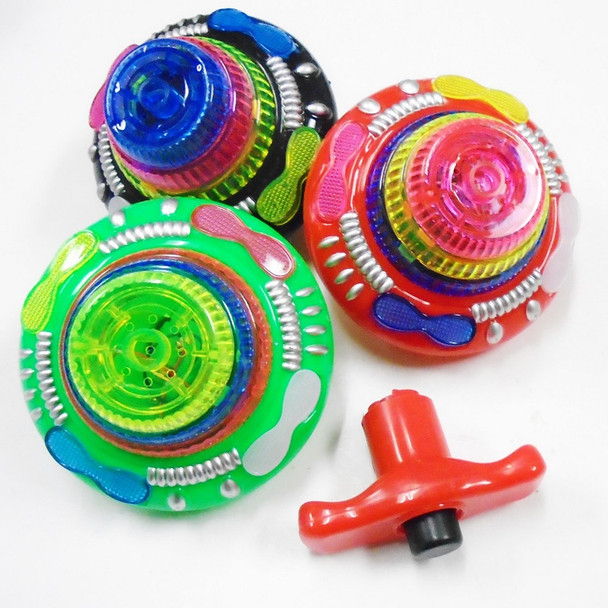 """4"""" Space Ship Look Flashing Spinning Top w/ Sound 12 per bx $ 1.50 ea"""