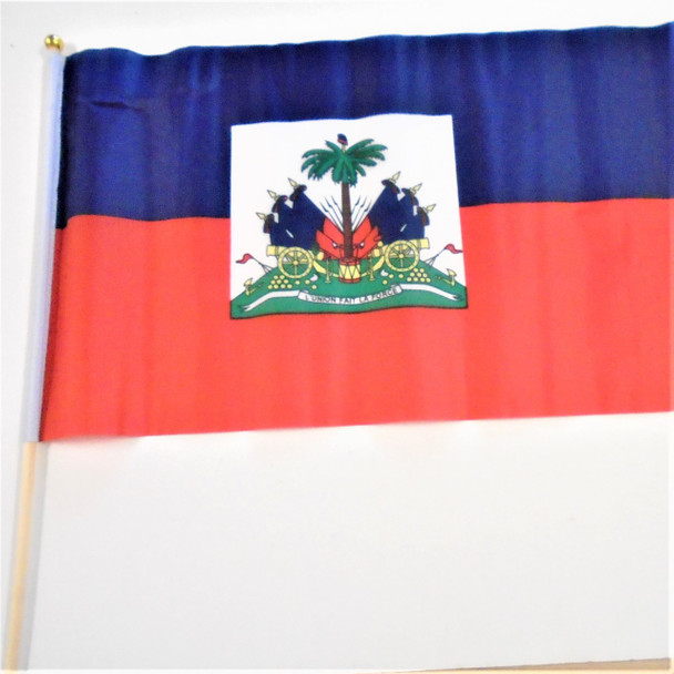 "12"" X 19"" Haiti County Flags on 23"" Wood Stick  12 per pk .55 each"