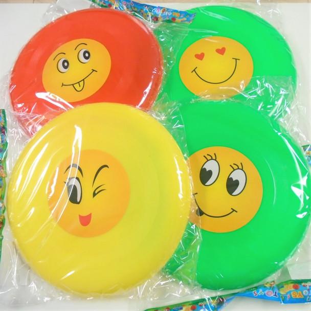 "9"" Asst Color EMOJI Theme Frisbees 12 per pk .55 each"