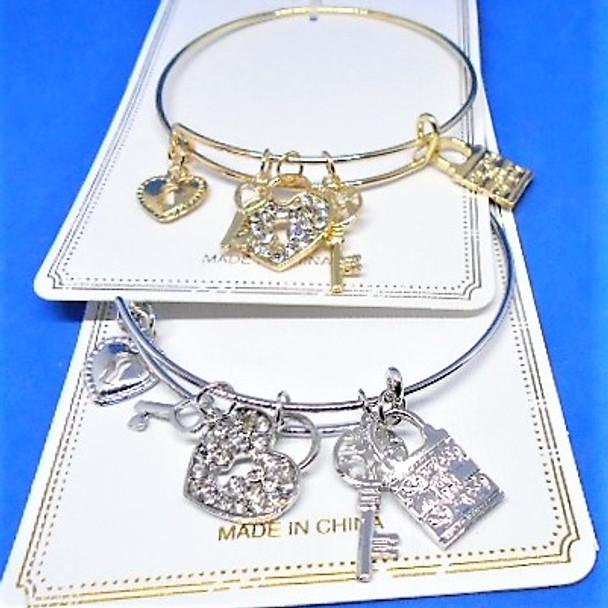 Gold & Silver  Wire Bangle w/ Lock & Key Charms  .58 each