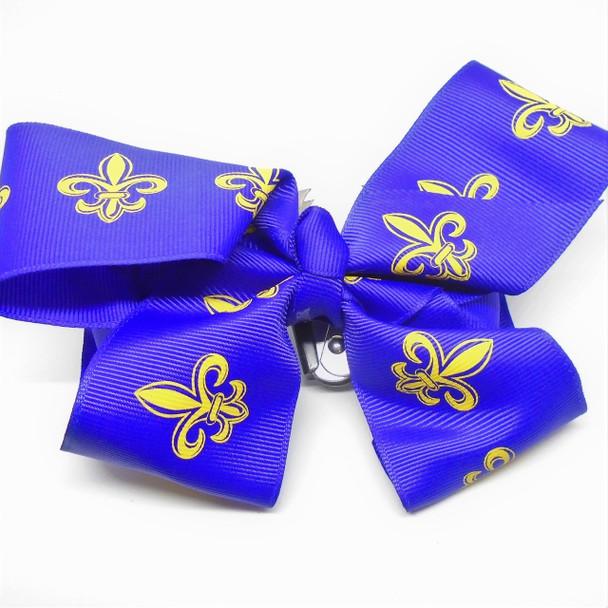 """6"""" Dark Purple Gator Clip Bows w/ Gold Fleur de lis  .54 each"""