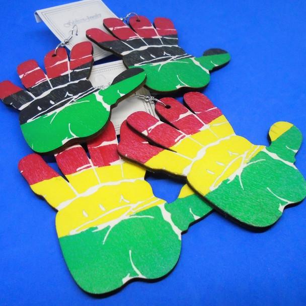 "3""  Wood Earring w/ Rasta Color Hand Theme Design    .54 per pair"